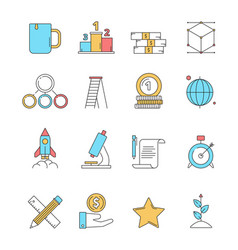 colored startup icons business plan perfect vector image