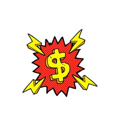 Comic cartoon dollar symbol vector