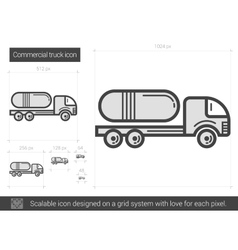 Commercial truck line icon vector