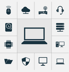 Computer icons set collection of personal vector