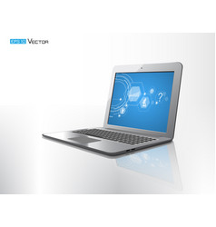 computer laptop isolated with reflect vector image