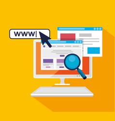 Computer with arrow pointer cursor and search bar vector