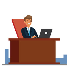 Consultant working at office cartoon flat vector