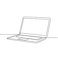 Continuous one line drawing laptop vector