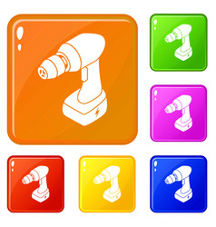 Cordless drill icons set color vector