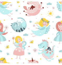 cute fairy tale characters seamless pattern vector image