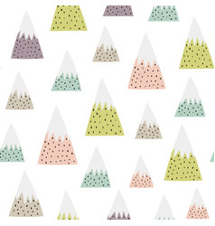 cute snowy mountains seamless pattern vector image