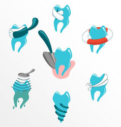 Dental problems and treatment icon set vector image
