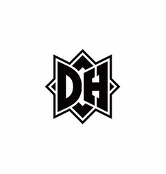 Dh monogram logo with square rotate style outline vector