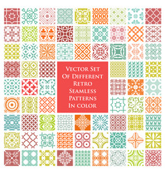 Different retro seamless patterns in color vector
