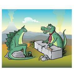 Dinosaur interview vector