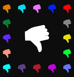 Dislike Thumb down icon sign Lots of colorful vector