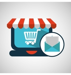 E-commerce concept email cart icon vector