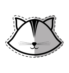 face cat feline animal dot line shadow vector image