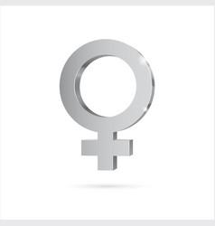 Female gender symbol venus silver 3d symbol vector