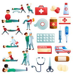 First medical aid icons set cartoon style vector