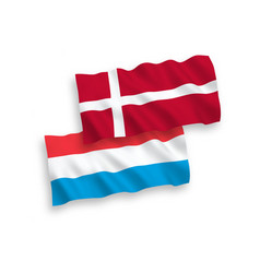 Flags denmark and luxembourg on a white vector