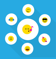 flat icon face set of cold sweat party time vector image
