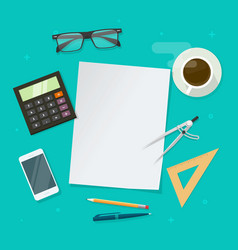 flat lay table with blank paper page for copy vector image