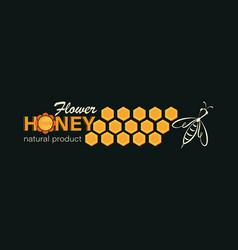 Flower honey emblem label business card linear vector