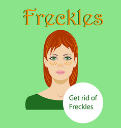 Freckled redhaired young woman isolated on a green vector