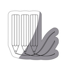 Grayscale contour sticker with row pencils making vector