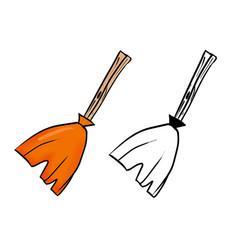 Hand drawn halloween orange witch broom vector