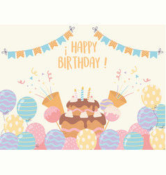 happy birthday cake with candles balloons candies vector image