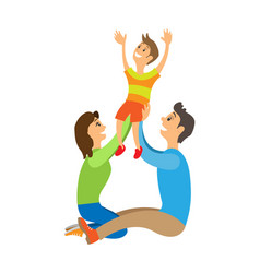 Happy family with child posing for photo isolated vector