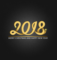 happy new year 2018 and merry christmas monogram vector image
