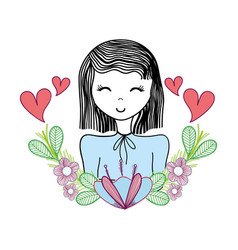 happy woman with flowers and hearts vector image