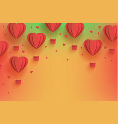 heart shaped red hot air balloons in trendy paper vector image