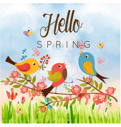 Hello spring birds butterfly blue sky background v vector