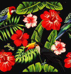 hibiscus parrot toucan banana leaf vector image