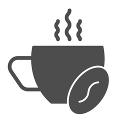 hot coffee solid icon cup of coffee and grain vector image