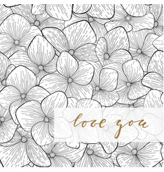 i love you hand drawn gold brush pen lettering vector image