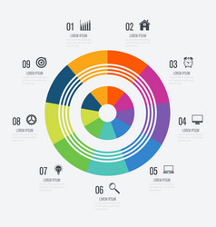 Infographics template 9 options with circle vector