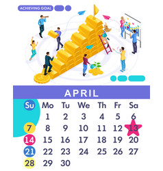 isometric calendar of 2019 business plan vector image