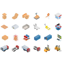 Isometric warehouse and logistics object set vector image