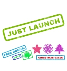 Just Launch Rubber Stamp vector image