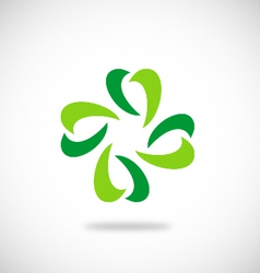 leaf green ecology logo vector image