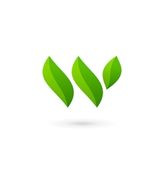 Letter W eco leaves logo icon design template vector
