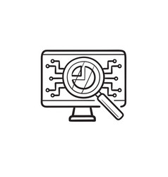 Magnifying glass and electronic circuit on vector