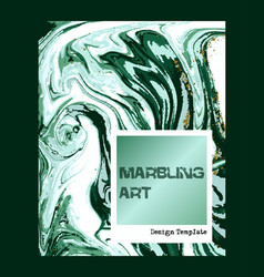 Marbled green abstract background liquid marble vector