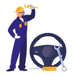 Mechanic worker with drive wheel car vector