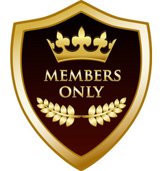 members only gold shield vector image