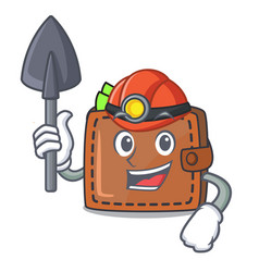 Miner wallet mascot cartoon style vector
