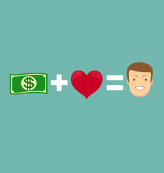 money and loves make you happy vector image