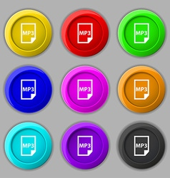 Mp3 icon sign symbol on nine round colourful vector