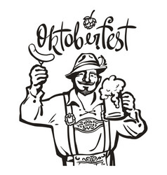 Oktoberfest lettering above heerful bavarian man vector